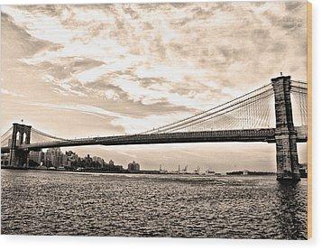 Brooklyn Bridge In Sepia Wood Print by Bill Cannon