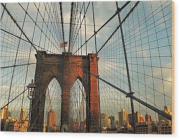 Brooklyn Bridge On A Sunset Wood Print by Alex AG