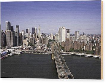 Wood Print featuring the photograph Brooklyn Bridge by Paul Plaine