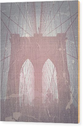 Brooklyn Bridge Red Wood Print by Naxart Studio