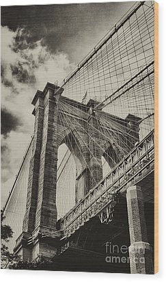 Wood Print featuring the photograph Brooklyn Bridge by Vicki DeVico