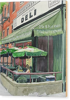 Wood Print featuring the painting Brooklyn Heights Deli by Tom Riggs
