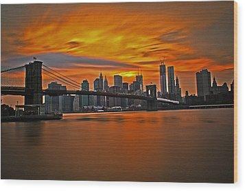 Brooklyn's Twilight V2 Wood Print by Michael Murphy