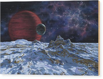 Brown Dwarf With Planet And Moon Wood Print by Lynette Cook