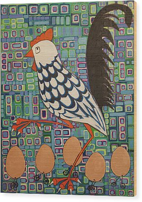 Wood Print featuring the painting Brown Eggs Are Local Eggs And Local Eggs Have Wheels by Donna Howard