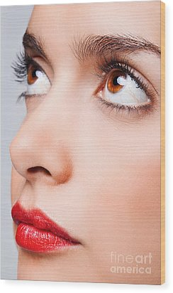 Brown Eyes And Red Lips Wood Print by Richard Thomas