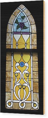 Brown Stained Glass Window Wood Print by Thomas Woolworth