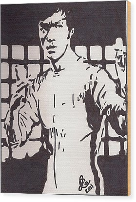 Bruce Lee Wood Print by Jeremiah Colley