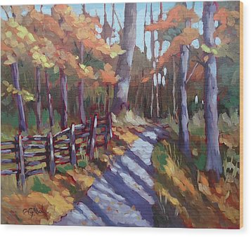Bruce's Mills Fall Colors Wood Print by Edward Abela