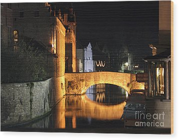 Wood Print featuring the photograph Bruge Night by Milena Boeva