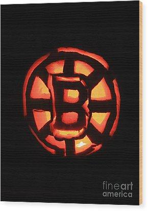 Bruins Carved Pumpkin Wood Print by Lloyd Alexander