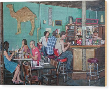 Brunch At Enid's Wood Print by Elinore Schnurr