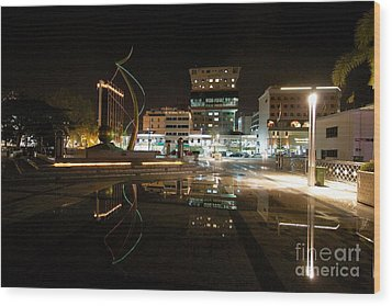 Wood Print featuring the pyrography Brunei At Night  by Gary Bridger
