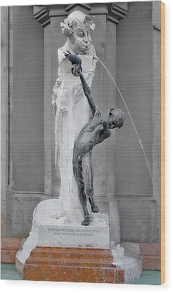 Brunnenbuberl - Boy At The Fountain -  Munich Germany Wood Print by Christine Till