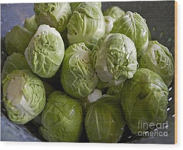 Brussel Sprouts Wood Print by Gwyn Newcombe