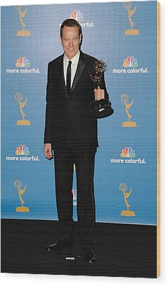 Bryan Cranston In The Press Room Wood Print by Everett