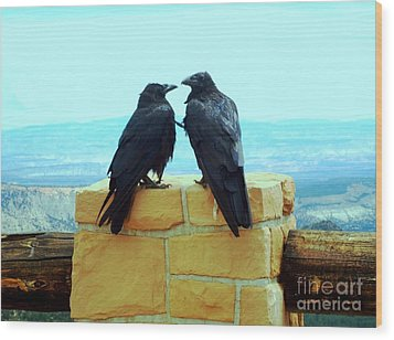 Bryce Canyon Couple Wood Print by Ann Johndro-Collins