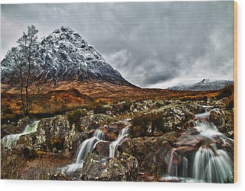 Buachaille Etive Mor With Waterfalls Wood Print by Fiona Messenger