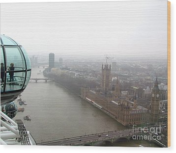 Bubble Over London Wood Print by Beth Saffer