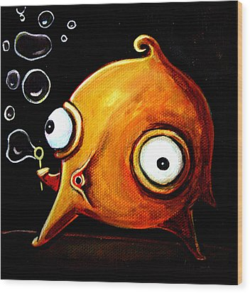 Wood Print featuring the painting Bubbles Glob by Leanne Wilkes