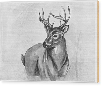 Buck Wood Print by Sarah Farren
