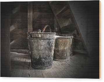 Buckets Wood Print by Christine Annas