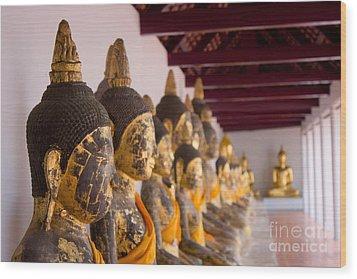 Buddha Culptures Wood Print by Asaha Ruangpanupan
