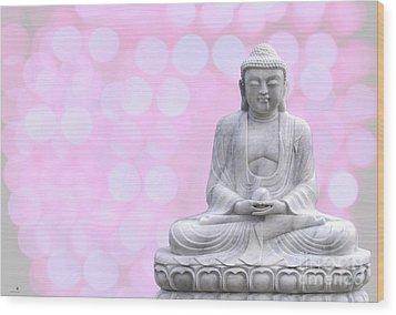 Buddha Enlightment Red-yellow Wood Print by Hannes Cmarits