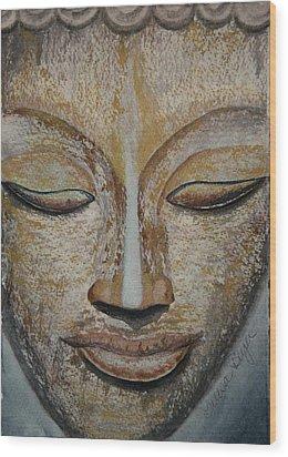 Buddha Face Wood Print by Teresa Beyer