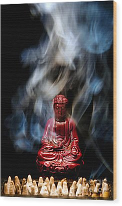 Buddha In Smoke Wood Print by Olivier Le Queinec