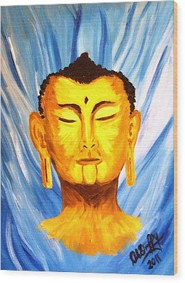 Buddha On Blue Wood Print by Deborah Duffy