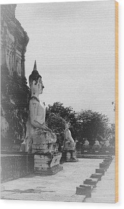 Buddha Statue Wood Print by Thosaporn Wintachai