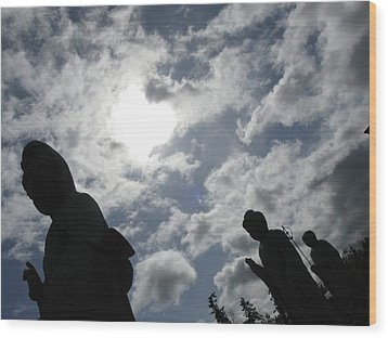 Wood Print featuring the photograph Buddhas Eclipsed By The Sun by Brian Sereda