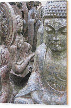 Wood Print featuring the photograph Buddhas2 by Brian Sereda