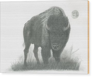 Buffalo   Wood Print by EJ John Baldwin
