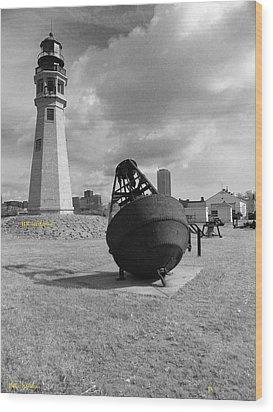 Buffalo Lighthouse And Bouy Wood Print by Joseph Rennie