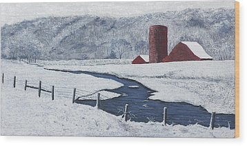 Buffalo River Valley In Snow Wood Print by Garry McMichael