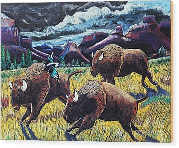 Buffaloes Race The Storm Wood Print by Harriet Peck Taylor