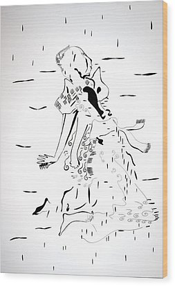 Wood Print featuring the drawing Buganda Kiganda Dance - Uganda by Gloria Ssali