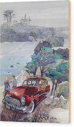 Buick At Battery Point Wood Print by Mike Hill