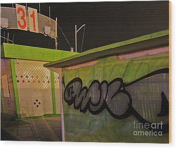 Wood Print featuring the photograph Building 31 Rimini Beach Graffiti by Andy Prendy