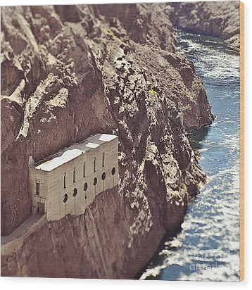Building Built Into River Valley Cliff Wood Print by Eddy Joaquim