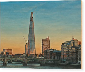 Building Shard Wood Print by Jasna Buncic