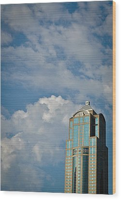 Wood Print featuring the photograph Building With Its Head In The Clouds by Ronda Broatch