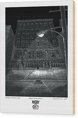 Building With Street Light Wood Print by Kenneth De Tore