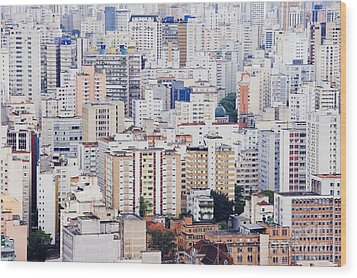 Buildings Of Downtown Sao Paulo Wood Print by Jeremy Woodhouse