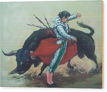 Bull Fighter 3 Wood Print by Baez