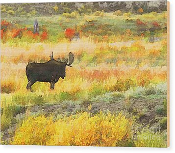 Bull Moose Wood Print by Clare VanderVeen
