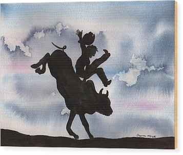 Wood Print featuring the painting Bull Riding by Sharon Mick