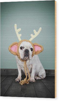 Bulldog Con Disfraz De Reno Wood Print by Retales Botijero